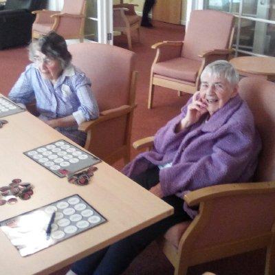 Nancy and Mary enjoying Musical Bingo