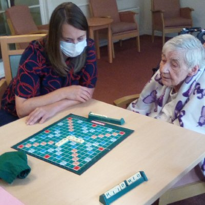 Nicola and Mary play Scrabble